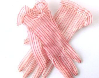 Sheer Vintage Gloves in with Pink and White Stripes / Shorty Evening Gloves / Truffled Cuffs / Made in USA / Candy Striper / Size 7