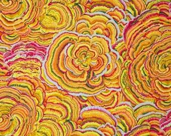 Philip Jacobs Tree Fungi Yellow Color ~ FQ ~ Half Yard ~ By the Yard ~ Free Spirit Fabrics