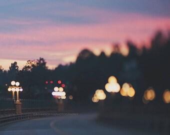 SALE Colorado Street Bridge photo, Pasadena photograph, sunset, night photography, romantic, abstract, bokeh, pink purple gold, California h