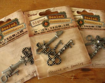 key embellishments charms antique silver finish keys with rhinestones jewelry craft supplies altered art crafts