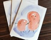 "SET OF THREE - Original blank greeting card ""Big Brother Bean"""