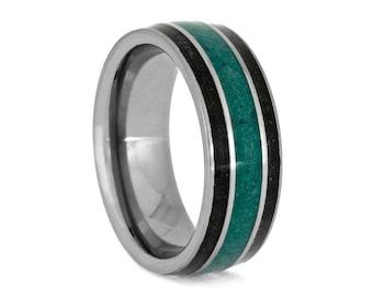 Malachite Ring With Dinosaur Bone, Tungsten Wedding Band, Masculine Ring
