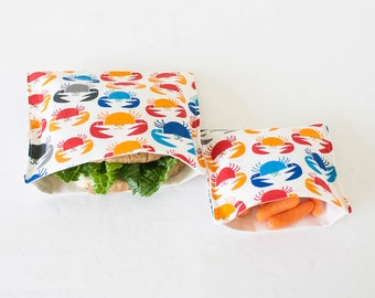 PLASTIC-FREE Colorful Crabs Sandwich and Snack Bags, Reusable, Organic Cotton, Eco Friendly - Set of 2