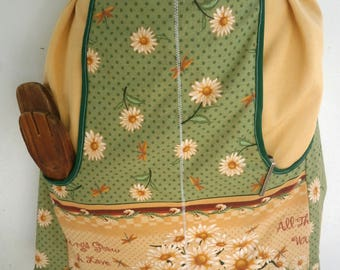 OOAK Vendor Apron green and yellow