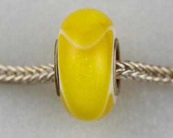 Unique Yellow Dichroic Dillo - Artisan Charm Bracelet Bead - (MAR-06)