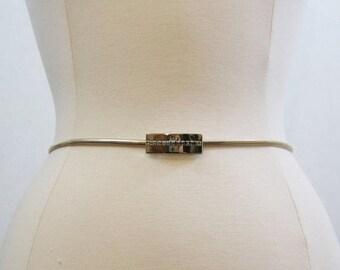 REDUCED Vintage 70s 80s Belt Metal Serpentine Rhinestone Gold Skinny Snake Disco S M