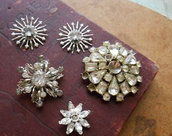 5 pc antique vintage rhinestone junk jewelry supplies destash craft lot - jewelry making supplies, vintage jewelry pieces