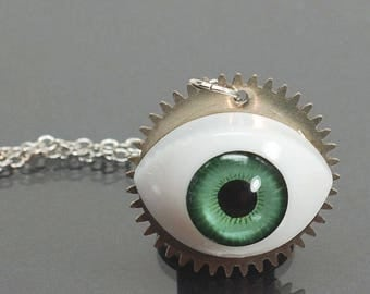 Steampunk Necklace- Creepy Doll Eye Necklace, Upcycled Silver Clock Gear Steampunk Jewelry, Industrial Jewelry, Urban Contemporary Jewelry