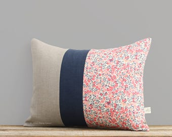 LIMITED EDITION: Wiltshire Leaf & Berry Liberty Print Pillow Cover (12x16) by JillianReneDecor, Floral Lumbar Pillow, Pink and Navy