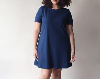 plus size vintage dress | navy swing shirt dress, size 12-16