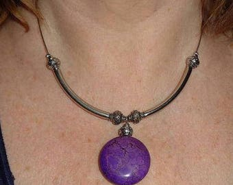 Statement necklace, boho chic jewelry, unique necklace, purple agate necklace, metal jewelry, silver link jewelry, funky jewelry