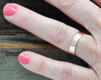 14K Rose Gold 4x1mm Flat Edge Ring, Solid Gold Wedding Band, Recycled Metals, Eco-Friendly, Sea Babe Jewelry