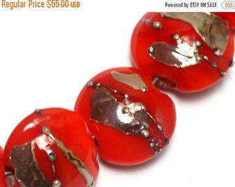 ON SALE 35% OFF Seven Electric Orange Metallic Lentil Beads-10705002-Handmade Lampwork Glass
