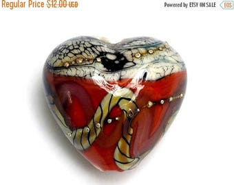 ON SALE 35% OFF Coral w/Ivory Free Style Heart Focal Bead - Handmade Lampwork Bead 11806505