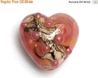 ON SALE 35% OFF Pink/Soft Orange Style Heart Focal Bead - Handmade Lampwork Bead 11816405