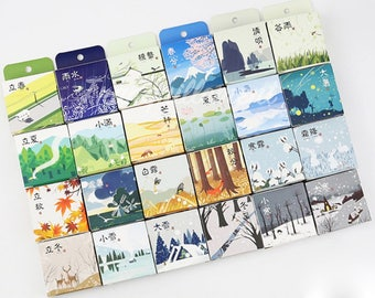 24 Boxes Nature Tree Animlas Plants Floral Flower Travel Landscape Vacation Weather Seasons Scrapbook Decor Washi Paper Masking Sticker Tape