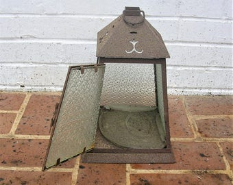 Antique Vintage Candle Box Metal and Glass Candle Box Rustic Primitive Candle Box Hanging Candle Box