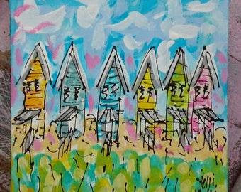 "Dauphin Island AL Fishing Shacks Abstract Painting Ready to Ship 6"" YelliKelli"