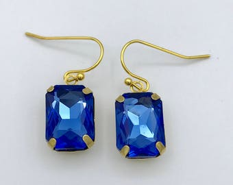 Sapphire earrings, Blue Crystal earrings, Chandelier, Blue earrings, Sparkly earrings, Shabby chic, Boho, Dangly, Bridesmaid, Gift,