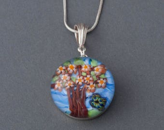 Artisan Sterling Silver Lampwork Flamework glass Cherry Tree and Butterfly Focal Pendant
