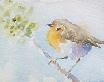 original watercolor painting ACEO robin bird ,2.5x3.5 inches