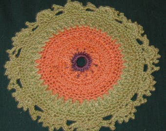 "Crochet Cotton Doily, 7"", Purple, green and peach Round"