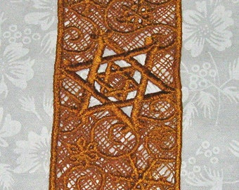 Lace machine embroidered Star of David with Snowflakes, Bookmark