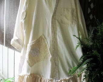 Reserved for BeckyAltered 1-2X Off-White Oxford Shirt/ Muslin Hem Ruffle,  Lace-Muslin Pocket/ Roll Sleeves, Button Front/ Dress, Tunic,