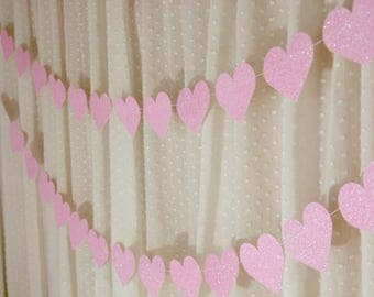 Light Pink Heart Garland, Glitter Heart Banner, Baby Shower Decoration, Bridal Shower Decor, Paper Garland