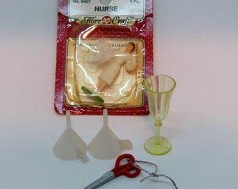 Miniature Nurse, Funnels, Scissors and Cup