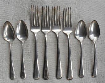 La France Dinner Forks Teaspoons Lot of 8 Rogers & Son 1920 Silverplate Vintage