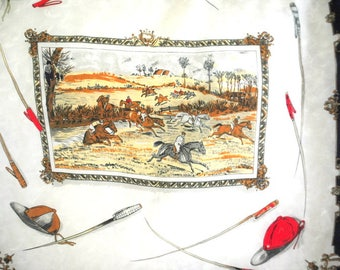 Classy  vintage 60s  silk  white scarf with a multi color scene of the polo players.