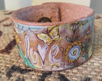 Yellow Lovin'-Hand Painted Leather Cuff