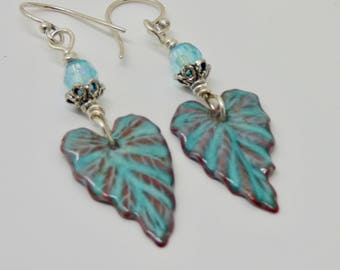 Turquoise Earrings, Turquoise Jewelry, Teal Ivy Leafs,  Handmade Enamel Earrings, Turquoise Gift, Under 25,  Gift for Mom Sister Wife