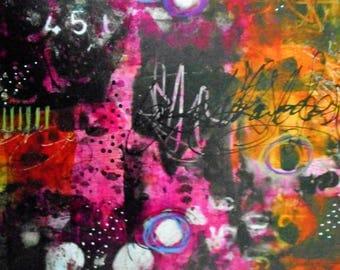 SALE Original Abstract Acrylic Ink Painting Wall Art Wall Decor Vibrant Colorful Pink Magenta