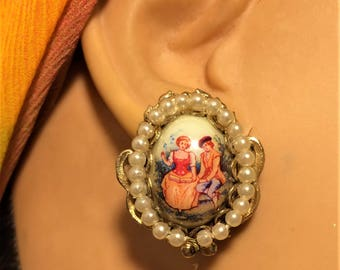 Vintage Necklace and Screwback Earring Set. Transfer Images of Southern Belle and Gentleman Courting Scene. Faux Pearls Filigree Metal (D15)