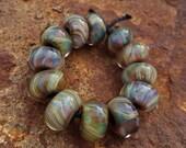 Sale 25 percent off Terra Lampwork Glass Beads Set