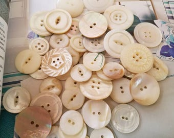 Vintage Buttons - large lot of 50 natural mother of pearl, assorted beautiful lot (Aug 236 17)