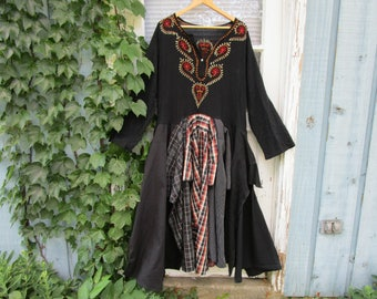 Plus Size Upcycled Embroidered Bohemian Dress// 1X 2X// emmevielle