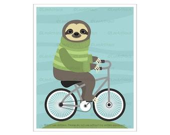 15J Bicycle Print - Sloth Riding Bicycle Wall Art - Funny Animal Drawing - Bicycle Drawing - Kids Wall Art - Children Bedroom Decor