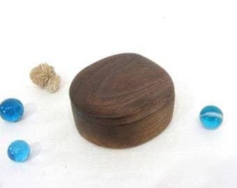 Black Walnut Wood Box, guitar pick holder, tooth fairy box, earring box
