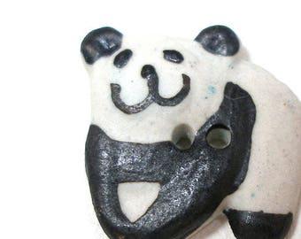 "Happy PANDA Button, Handmade ceramilc black & white bear smile, 3/4""."