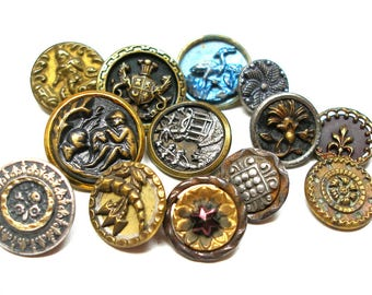 Vintage & Victorian metal buttons, mixed lot of 13 shabby chic with flowers.
