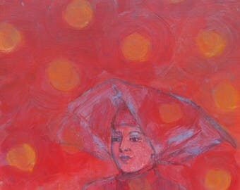 original fine art painting - Contemplation (Red Nun, Big Dots) - wall decor by Irene Stapleford - wantknot shop