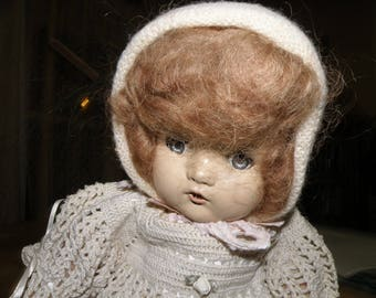 19 inch Antique Doll with Mohair Wig, hand crochet outfit, Composition Head, Cloth body