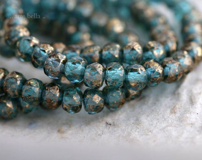 GOLDEN BLUES .. New 30 Picasso Czech Rondelle Glass Beads 3x5mm (6180-st)