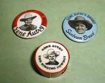Vintage Gene Autry Lot -Tin Badge-pencil sharpner