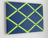 """11""""x14"""" French Memory Board, Bow Holder, Bow Board, Vision Boad, Photograph Holder, Organizer,Navy Blue and Lime Green, Boys Memory Board"""