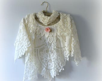 Lace Poncho, Shabby Chic Shawl, Holiday Shawl, Vintage Wedding, made from Vintage, with Lace Scarf