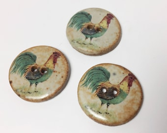 3 Vintage Rooster Ceramic Buttons - Large Round Chicken or Farmyard Button - 28 mm - 1 1/8 inch -
